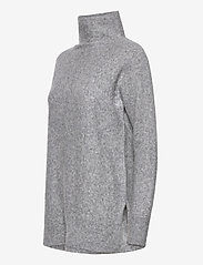 Second Female - This knit with T-neck is made in a soft wool  blend. It has - rullekraver - light grey melange - 2