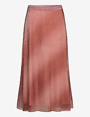 Second Female - Pleated, midi skirt in a beautiful shimmery  polyester mix q - midinederdele - dusty rose - 0