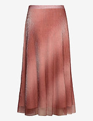 Second Female - Pleated, midi skirt in a beautiful shimmery  polyester mix q - midinederdele - dusty rose - 1