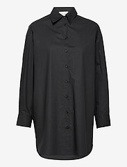 Second Female - Larkin Oversized Shirt - långärmade skjortor - black - 0