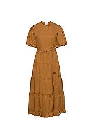 Second Female - Athena Midi Dress - vardagsklänningar - bronze brown - 1