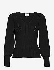 Second Female - TINE ANDREA & DARJA x SECOND FEMALE Bodine Knit V-Neck - tröjor - black - 0
