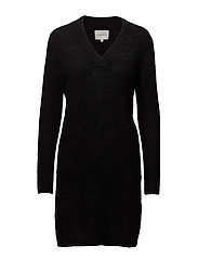 Brook Knit V-neck Dress - BLACK