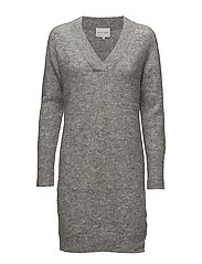 Brook Knit V-neck Dress - GREY MELANGE