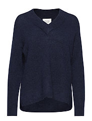 Brook Knit Deep V-neck - NAVY BLAZER