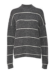 Brook Knit Loose Striped O-Neck - DARK GREY MELANGE