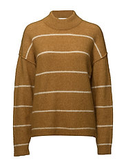 Brook Knit Loose Striped O-Neck - SUDAN BROWN