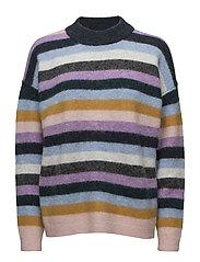 Maville Knit Loose Multi O-neck - ENGLISH LAVENDER