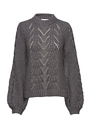 Tali Knit O-neck - DARK GREY MELANGE