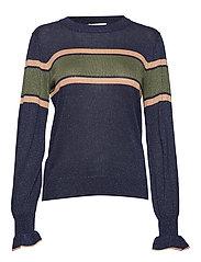 Orit Knit Striped O-neck - NAVY BLAZER