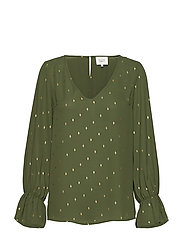 Leaf Foil Blouse - RIFLE GREEN