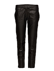 Robina Cropped Leather Trousers - BLACK