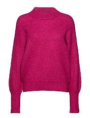 Minnelli Knit Loose O-Neck - FUCHSIA RED