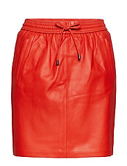 Ivana Leather Skirt - VALIANT POPPY