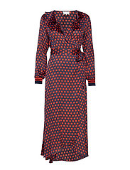 Spotty Wrap Dress - NAVY