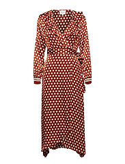 Spotty Wrap Dress - RUSTIC BROWN