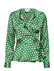 Spotty Wrap Blouse - JELLY BEAN