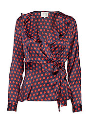 Spotty Wrap Blouse - NAVY