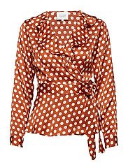 Spotty Wrap Blouse - RUSTIC BROWN