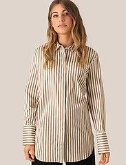 Second Female - Dane Stripe Shirt - long-sleeved shirts - tiger`s eye - 4