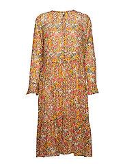 Bloom V-neck Dress - BLAZING ORANGE
