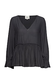 Florenza LS V Neck Blouse - BLACK