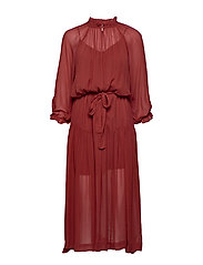 Tul SS Long Dress - HENNA
