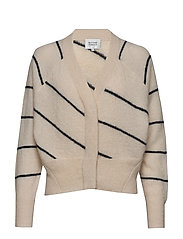 Brook Knit Striped Boxy Cardigan - EGGNOG