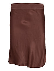 Short viscose skirt with zipper closure. - CAROB BROWN