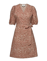 Straw SS Short Dress - MOCHA MOUSSE