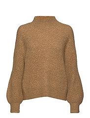 Galia Knit T-Neck - BONE BROWN