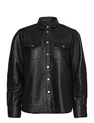 Gitte Leather Shirt - BLACK