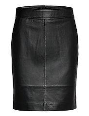 Francie Mini Leather Skirt - BLACK