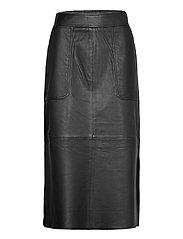 Francie Midi Leather Skirt - BLACK