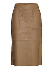 Francie Midi Leather Skirt - BUTTERNUT