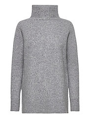 This knit with T-neck is made in a soft wool  blend. It has - LIGHT GREY MELANGE