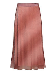 Pleated, midi skirt in a beautiful shimmery  polyester mix q - DUSTY ROSE