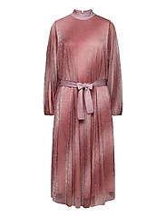Pleated dress in a beautiful shimmery polyester  mix quality - DUSTY ROSE