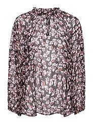 Beautiful printed blouse with volumized sleeves, f rills aro - BLACK