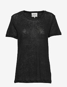 Peony O-neck Tee - t-shirts - black