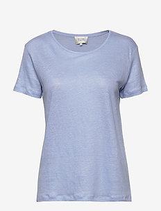 Peony O-neck Tee - t-shirts - brunnera blue