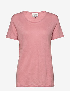 Peony O-neck Tee - t-shirts - light mahagony