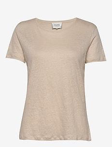 Peony O-neck Tee - t-shirts - macadamia