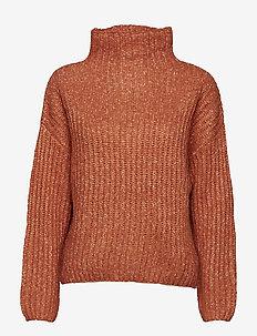 Ambra Knit T-neck - polotröjor - carnelian
