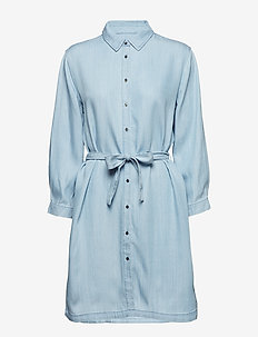 Sophia LS Shirt Dress - LIGHT BLUE DENIM