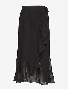 Mounce Long Wrap Skirt - BLACK