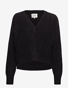 This cardigan with deep V-neck is made from a soft  mohair-w - gensere - black