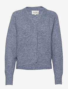 This cardigan with deep V-neck is made from a soft  mohair-w - gensere - blue bonnet