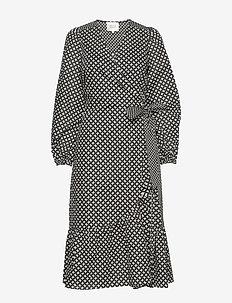 Gamma LS Midi Dress - omlottklänningar - black