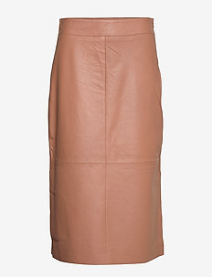 Melvin Leather MW Midi Skirt - midi kjolar - praline